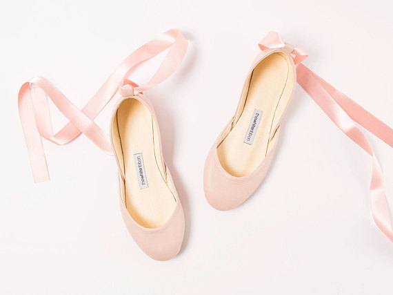 Ballerines blush lacets en satin
