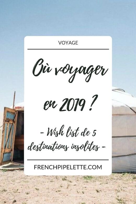 Où voyager en 2019 __Pinterest